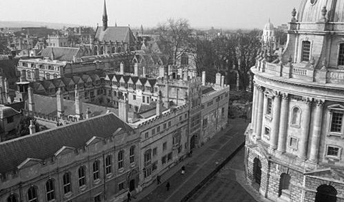 Black and white image of Radcliffe Square overlooking Brasenose College